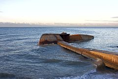 Half-immersed ship. Half-immetsed ship at the sea shore in Sochi Royalty Free Stock Photos
