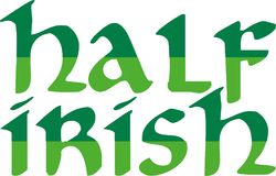 Half irish word in two green colors. Vector vector illustration