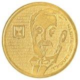 Half Israëlisch Nieuw Sheqel-muntstuk - Edmund de Rothschild-uitgave Stock Foto