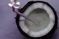 Half juicy coconut with plastic tube inside and ice cubes. Cocktail, dessert royalty free stock image