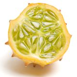 Half Kiwano. Half of Kiwano Melon (Horn Melon). Clipping path Stock Images