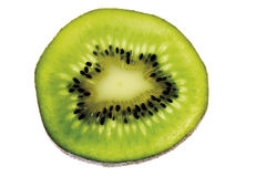 Half a kiwi fruit, close-up, elevated view Royalty Free Stock Images