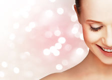Half laughing face of  beautiful healthy woman Stock Image