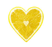 The half of the lemon in the form of heart Stock Images