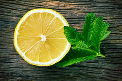 Half lemon and fresh mint Stock Image
