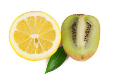 Half a lemon with kiwi Stock Photography