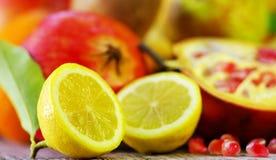 Half Lemon slices and berrys Royalty Free Stock Photo