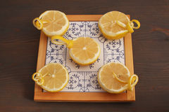 Half lemons on porcelain Stock Photos