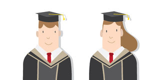 Half-length cartoon character, male and female students in acade Royalty Free Stock Image