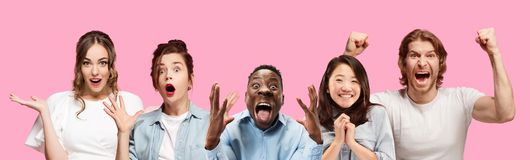 Half-length close up portrait of young people on pink background. royalty free stock photography