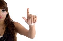 Half length of pointing woman stock photography