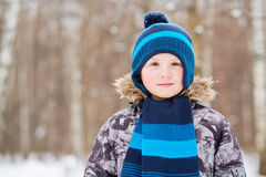 Half-length portrait of boy dressed in jacket Royalty Free Stock Photos