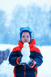 Half-length portrait of boy who stands in winter park holding sm Royalty Free Stock Photo