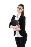 Half-length portrait of business lady with folder wearing black. Frame glasses, isolated on white Stock Photos