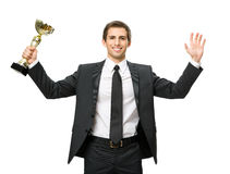 Half-length portrait of business man with cup Stock Image