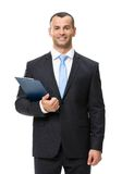 Half-length portrait of business man with folder Royalty Free Stock Image