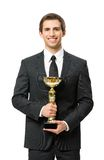 Half-length portrait of business man with gold cup Stock Image