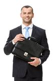 Half-length portrait of business man keeping case Stock Photos