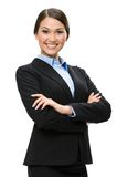Half-length portrait of business woman with crossed hands Royalty Free Stock Images