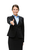 Half-length portrait of business woman handshake gesturing Stock Images