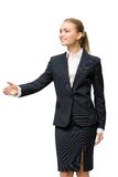 Half-length portrait of business woman handshaking Stock Images