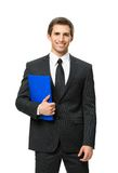 Half-length portrait of businessman with folder Stock Photography