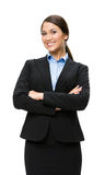 Half-length portrait of businesswoman with crossed hands Royalty Free Stock Photos