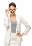 Half-length portrait of businesswoman in glasses Stock Photos