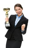 Half-length portrait of businesswoman with golden cup Stock Images