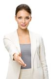 Half-length portrait of businesswoman handshake gesturing Stock Images