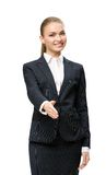 Half-length portrait of businesswoman handshaking Stock Image