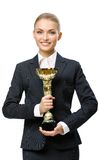 Half-length portrait of businesswoman keeping cup Stock Images