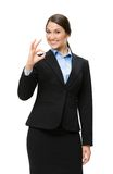 Half-length portrait of businesswoman ok gesturing Royalty Free Stock Photography