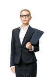 Half-length portrait of businesswoman with papers Stock Photos