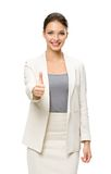 Half-length portrait of businesswoman thumbing up Royalty Free Stock Photos