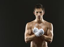 Half-length portrait of exercising boxer Stock Photography