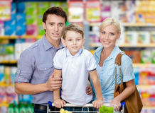 Half-length portrait of family in the shop Royalty Free Stock Photo