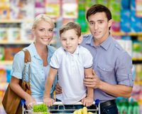 Half-length portrait of family in the shopping mall Royalty Free Stock Photo