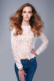 Half length portrait of fashion model in lace top Stock Image