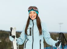 Half-length portrait of female alpine skier Stock Images