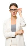 Half-length portrait of female business man in spectacles Royalty Free Stock Photography