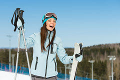 Half-length portrait of female downhill skier Stock Images