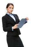 Half-length portrait of female executive with folder Royalty Free Stock Images