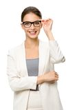 Half-length portrait of female executive in glasses Royalty Free Stock Image