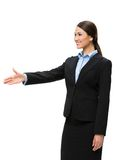 Half-length portrait of female executive handshaking Royalty Free Stock Images