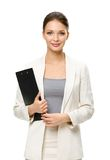 Half-length portrait of female manager with folder Royalty Free Stock Photography
