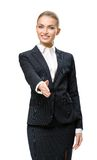 Half-length portrait of female manager handshake gesturing. Half-length portrait of handshake gesturing business woman, isolated on white. Concept of leadership Stock Photo