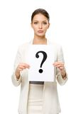 Half-length portrait of female manager with question mark Royalty Free Stock Photos