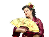 Half-length portrait of flowers haired kimono woman Stock Images