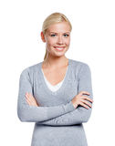 Half-length portrait of girl with arms crossed Royalty Free Stock Photos